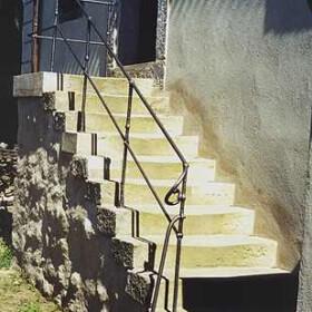 """Geländer """"Burg Stolpen"""" Säulen in Blei gesetzt"""